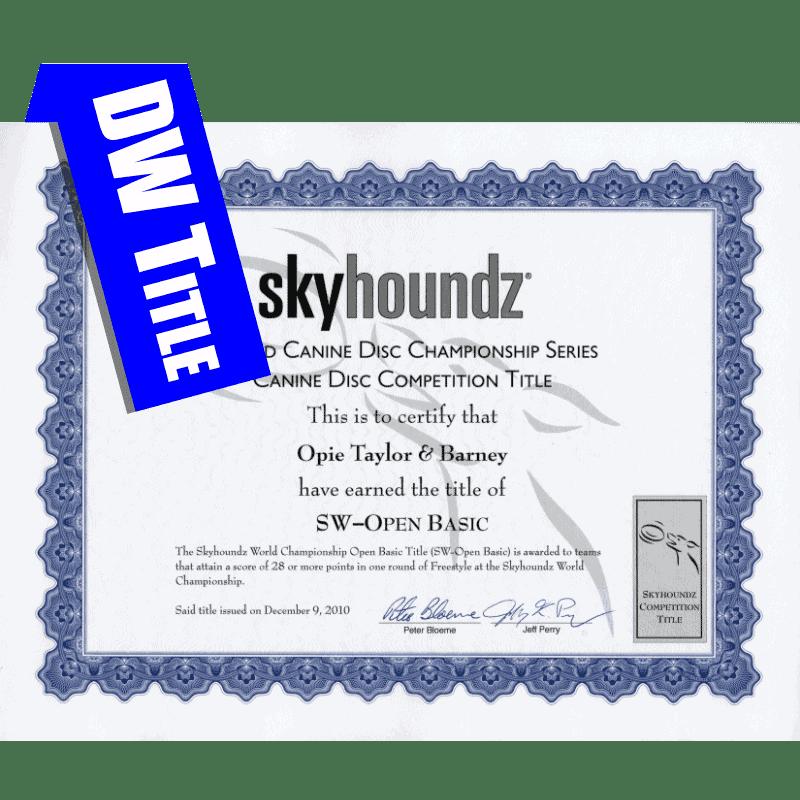 DiscDogathon World Championship Title Certificate