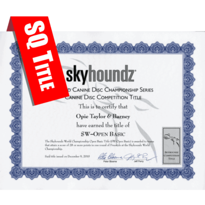 Skyhoundz Qualifier Title Certificate