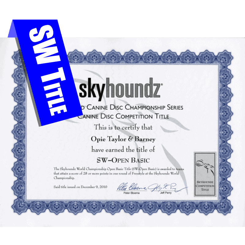 Skyhoundz World Championship Title Certificate