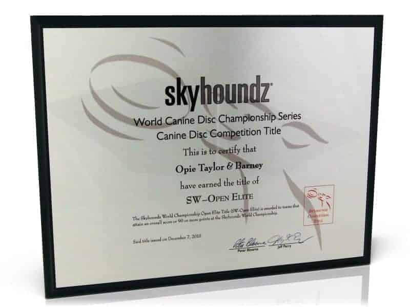 Skyhoundz Competition Title Plaque