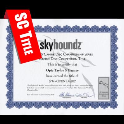 Skyhoundz Classic Title Certificate