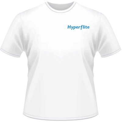 White Hyperflite Shirt With Blue Logo (Front View)