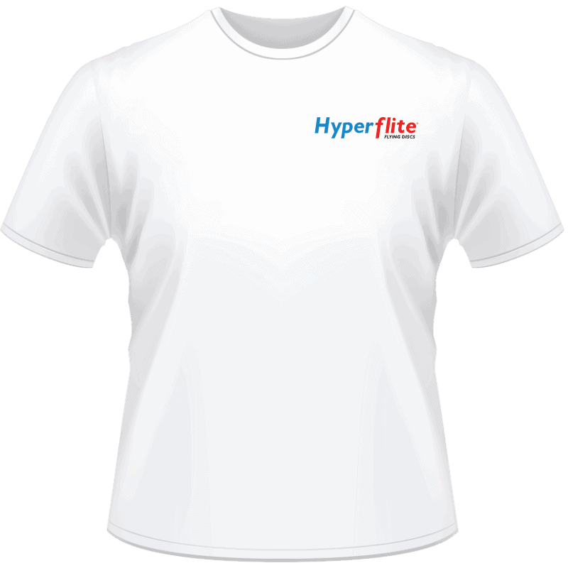White Hyperflite Shirt With Blue/Red Logo (Front View)