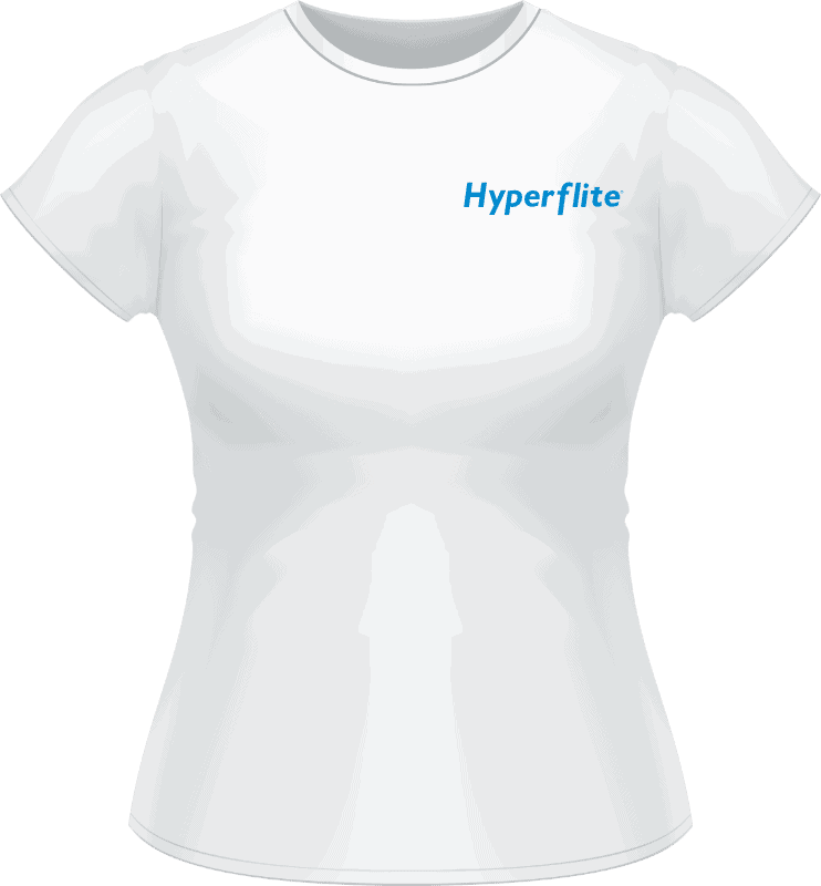 White Hyperflite Women's Shirt With Blue Logo (Front View)