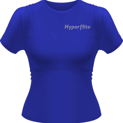 Women's Hyperflite Flying Disc Shirt-Silver Glitter Logo (Front View)