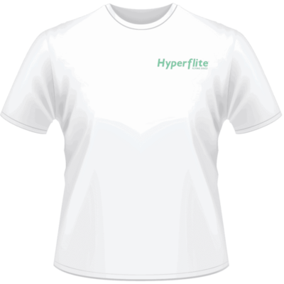 White Hyperflite Shirt With Neon Green Logo (Front View)