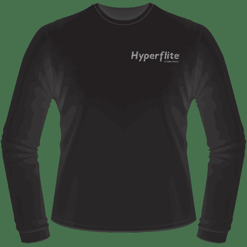 Black Hyperflite Glitter Logo Long Sleeve Shirt (Front View)