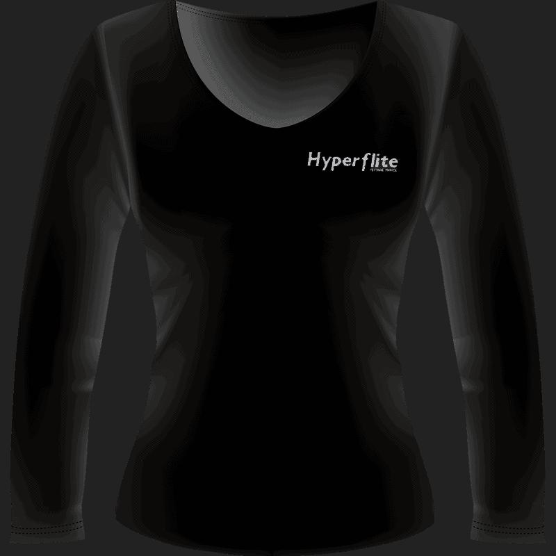 Black Hyperflite Glitter Logo Long Women's Sleeve Shirt (Front View)