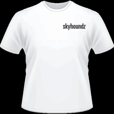 White Skyhoundz Black Logo Shirt (Front View)