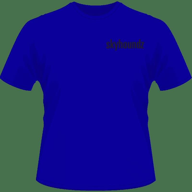 Blue Skyhoundz Shirt Black Logo (Front View)