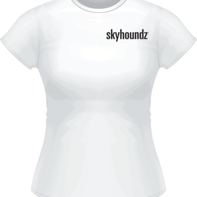 White Skyhoundz Black Logo Women's Shirt (Front View)