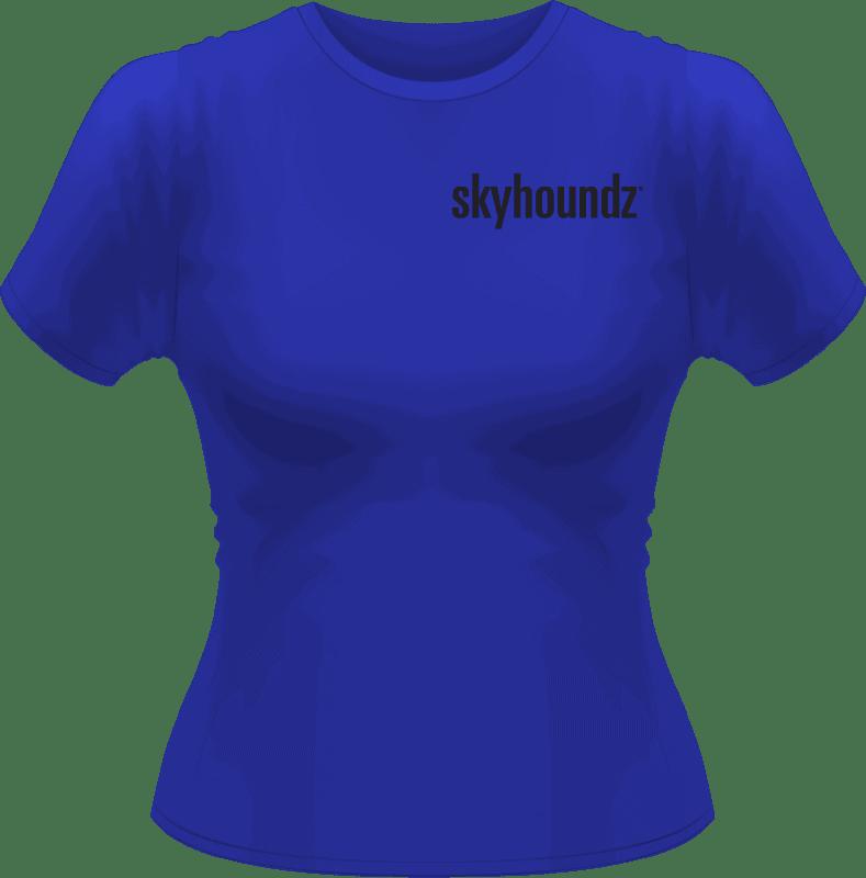 Blue Skyhoundz Women's Shirt Black Logo (Front View)