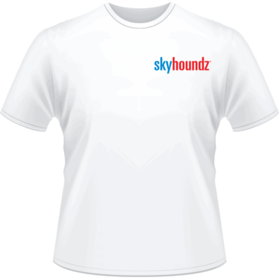 White Skyhoundz Blue/Red Logo Shirt (Front View)