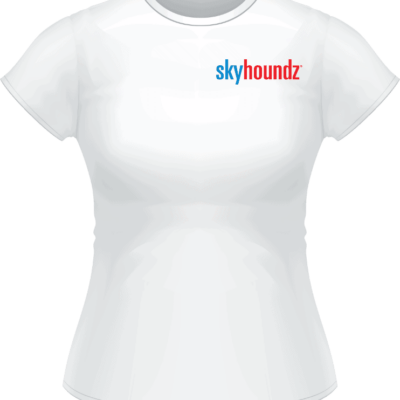 White Skyhoundz Blue/Red Logo Women's Shirt (Front View)