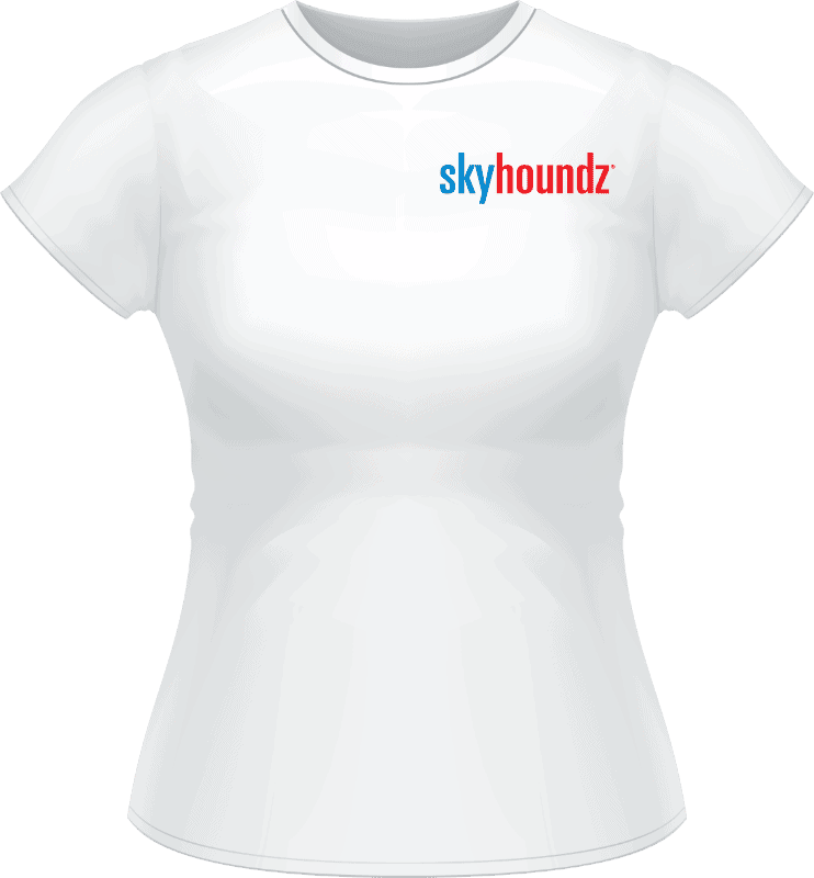 White Skyhoundz Blue/Red Logo Women's Shirt (Front View)