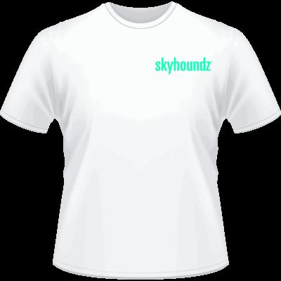 White Skyhoundz Neon Green Logo Shirt (Front View)