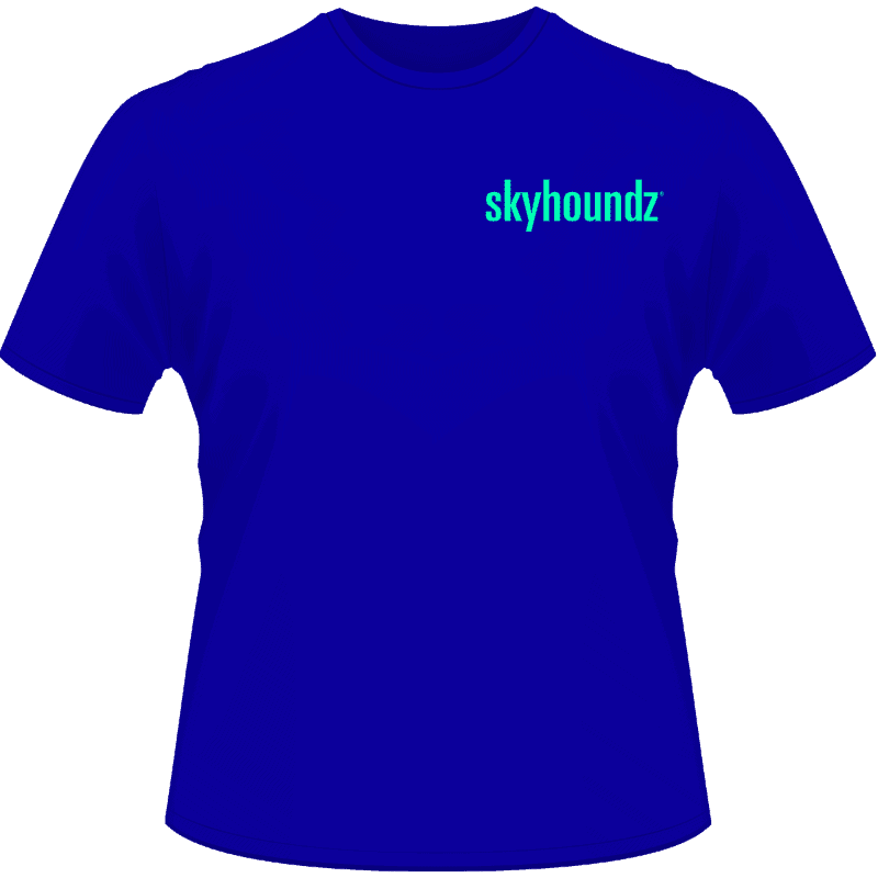 Blue Skyhoundz Shirt Neon Green Logo (Front View)