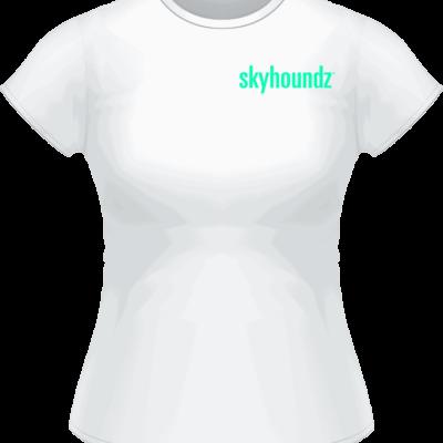 White Skyhoundz Neon Green Logo Women's Shirt (Front View)