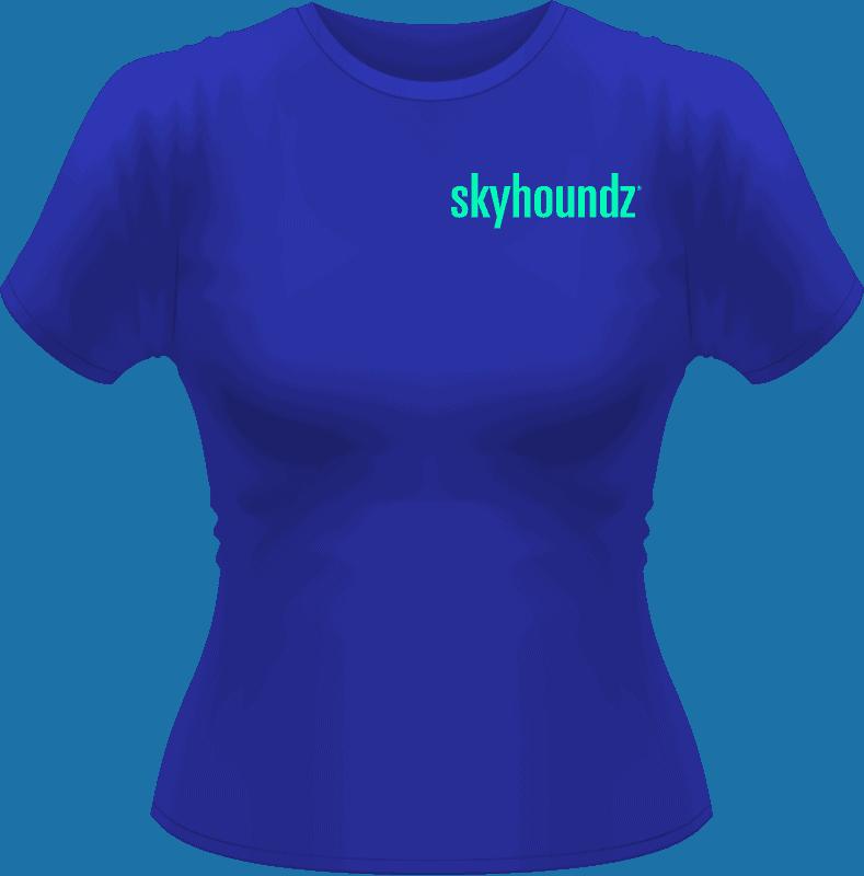 Blue Skyhoundz Women's Shirt Neon Green Logo (Front View)