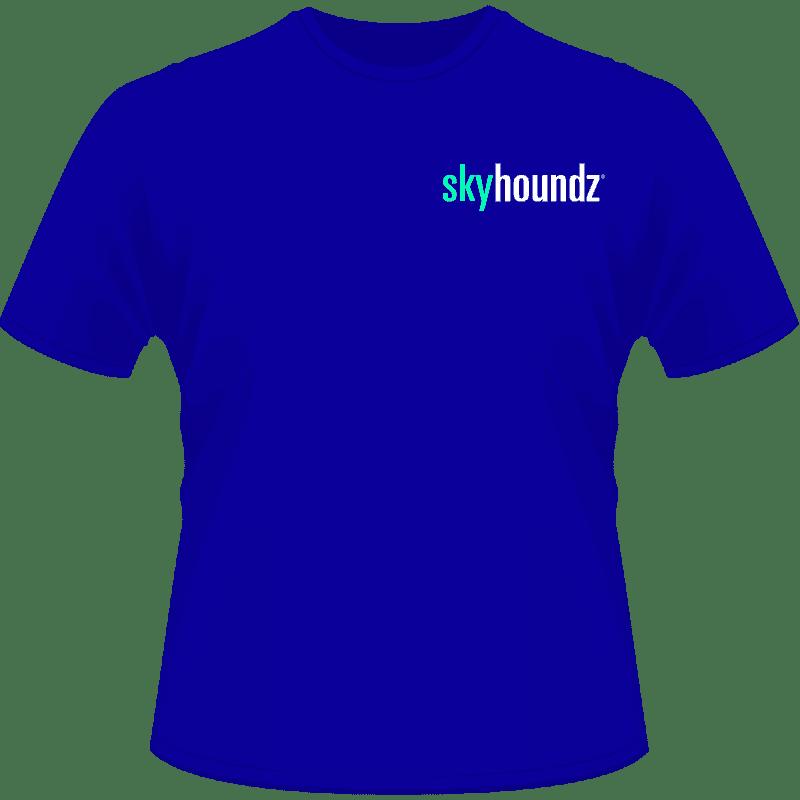 Blue Skyhoundz Shirt Neon Green/White Logo (Front View)