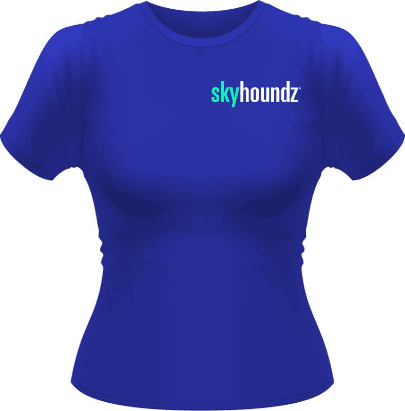 Blue Skyhoundz Women's Shirt Neon Green/White Logo (Front View)