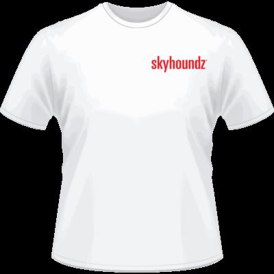 White Skyhoundz Red Logo Shirt (Front View)