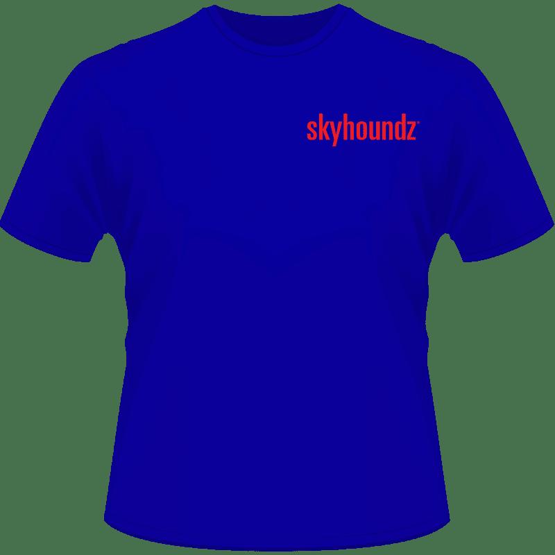 Blue Skyhoundz Shirt Red Logo (Front View)