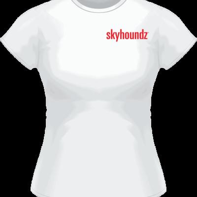 White Skyhoundz Red Logo Women's Shirt (Front View)