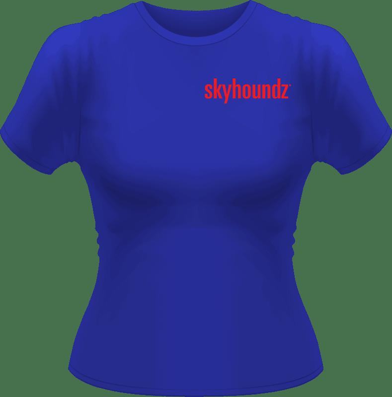 Blue Skyhoundz Women's Shirt Red Logo (Front View)