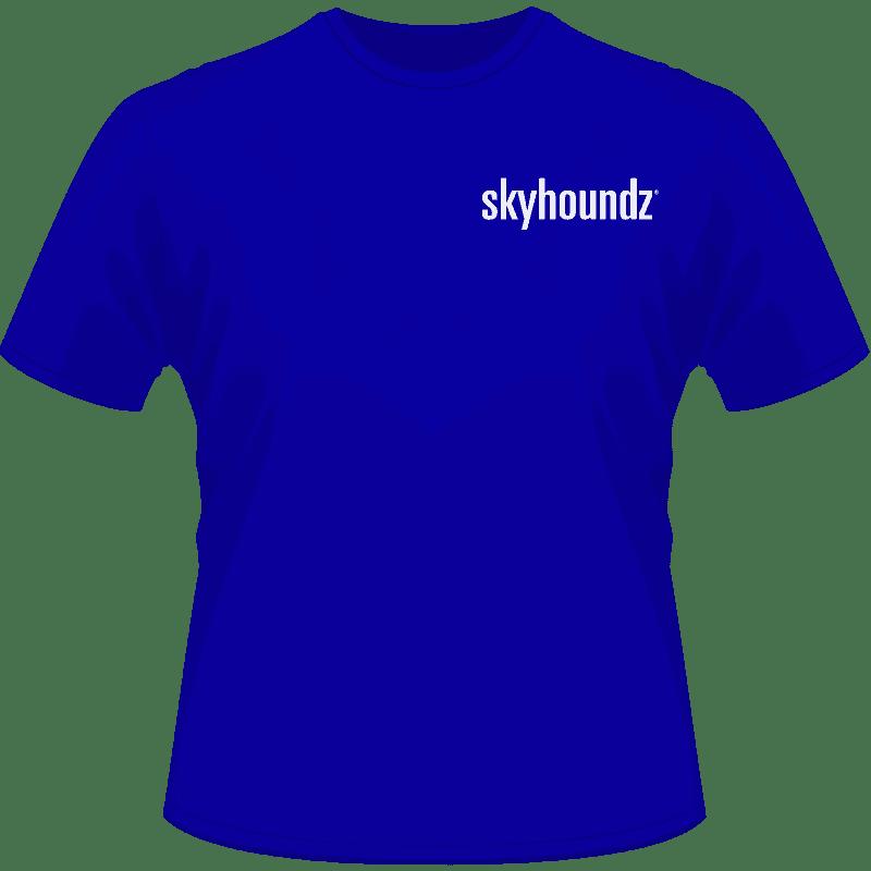 Blue Skyhoundz Shirt White Logo (Front View)