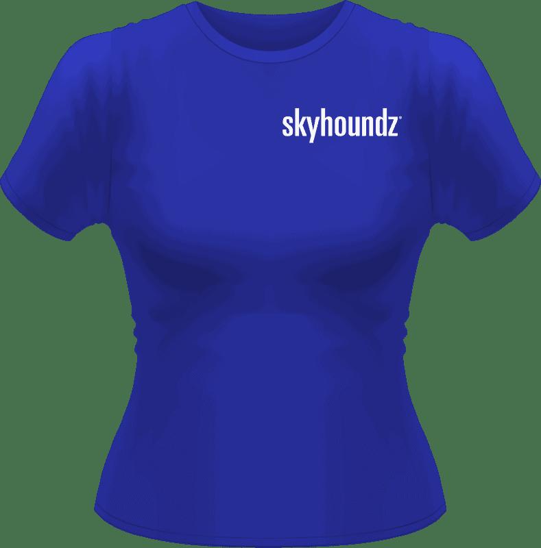 Blue Skyhoundz Women's Shirt White Logo (Front View)