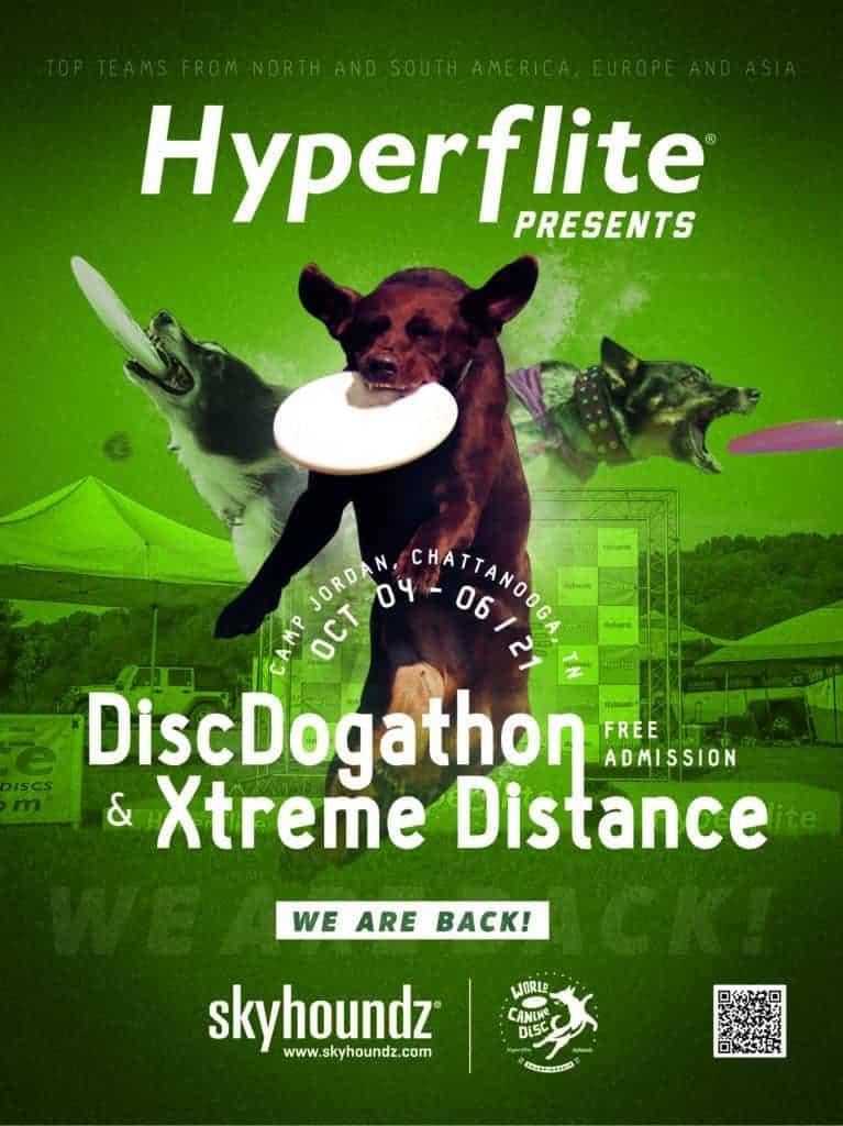20-21 Skyhoundz DiscDogathon / Xtreme Distance World Canine Disc Championship Poster